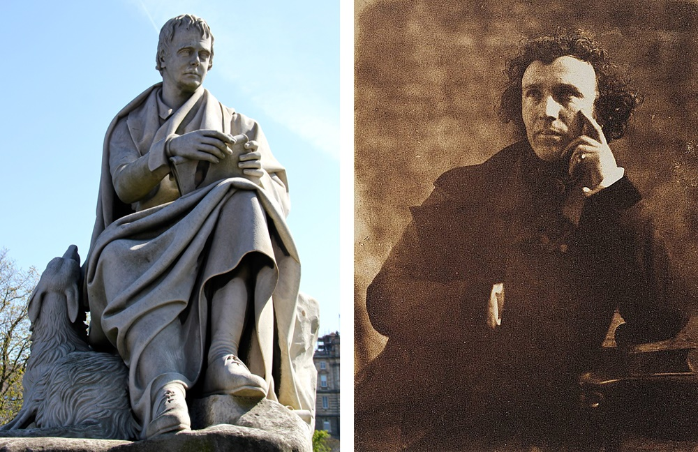 Steel's statue of Sir Walter Scott, at the Scott Monument, Edinburgh, plus a photograph of the artist, Sir John Steell