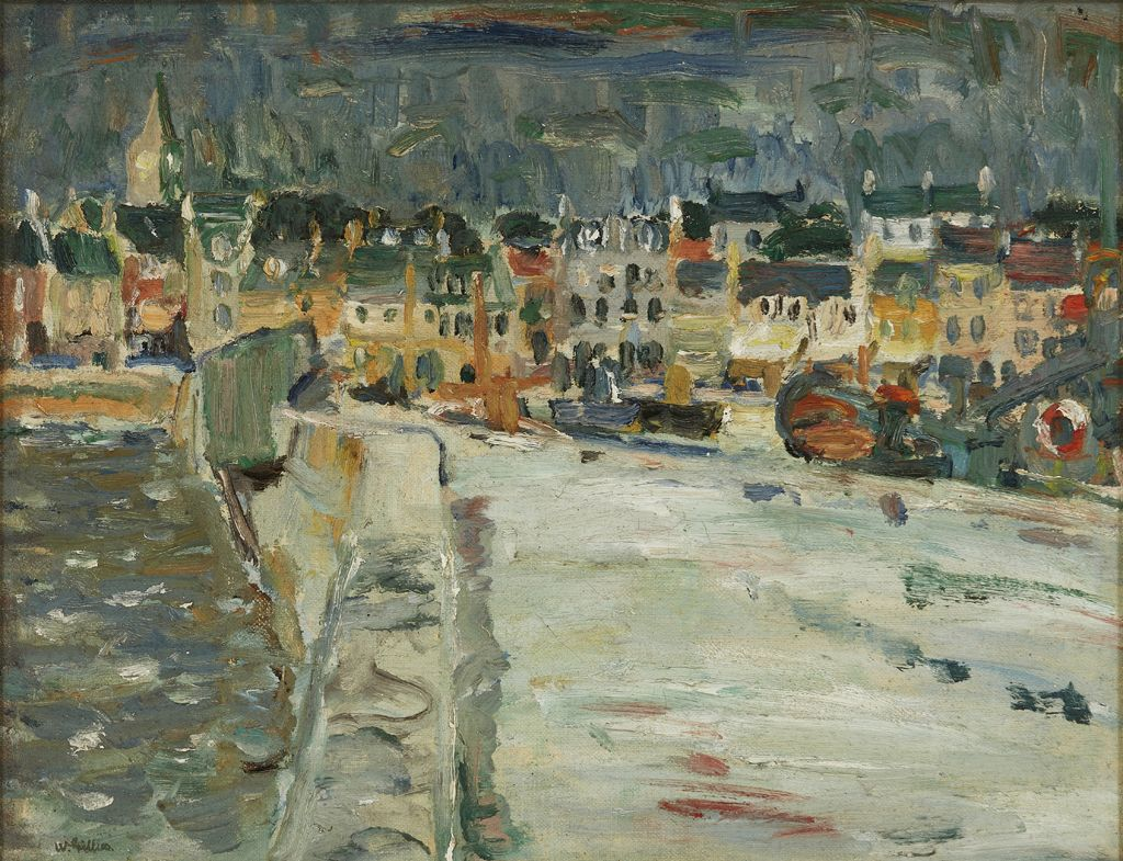 SIR WILLIAM GEORGE GILLIES C.B.E., R.A., R.S.A., R.S.W., L.L.D. (SCOTTISH 1898-1973) THE HARBOUR QUAY, ANSTRUTHER