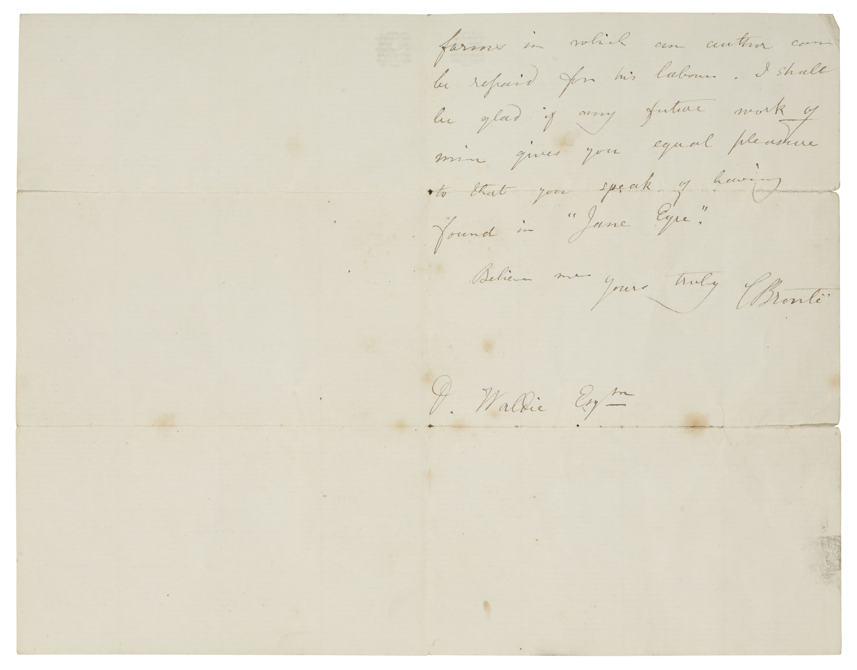 Rare Autographed Letter from Charlotte Bronte