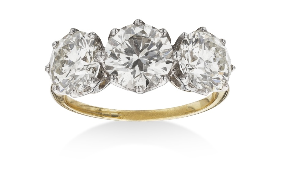 Diamond three stone cropped