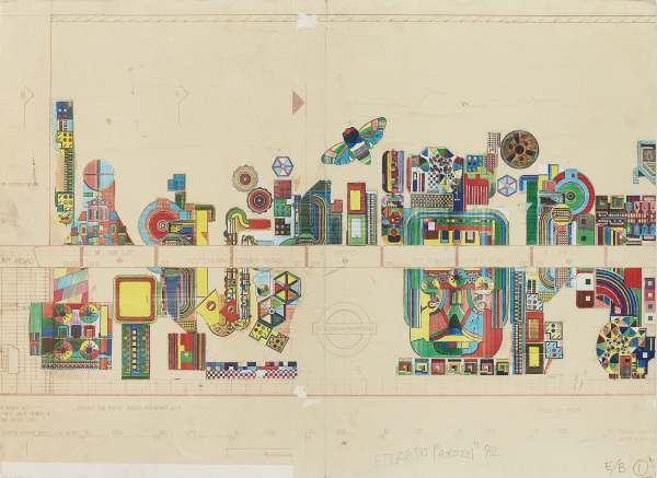 SIR EDUARDO PAOLOZZI K.B.E., R.A., H.R.S.A. (SCOTTISH 1924-2005) STUDY FOR TOTTENHAM COURT ROAD UNDERGROUND STATION MOSAICS