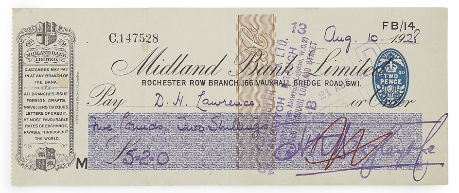 D H Lawrence cheque