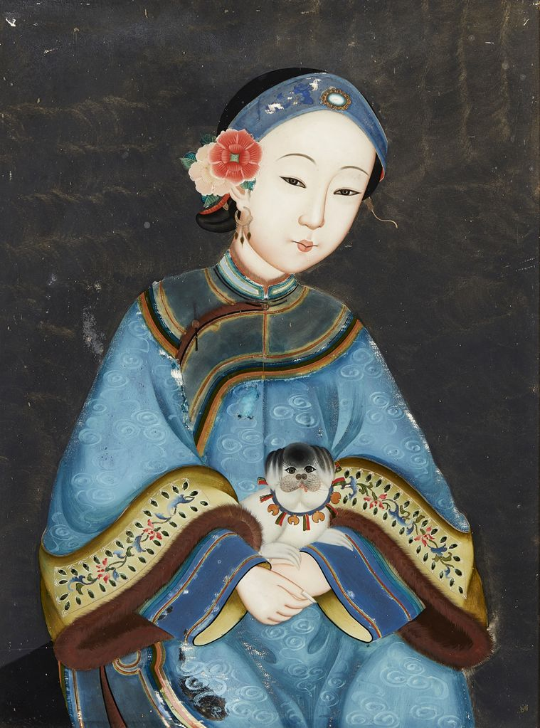 reverse glass painting qing dynasty lady and puppy