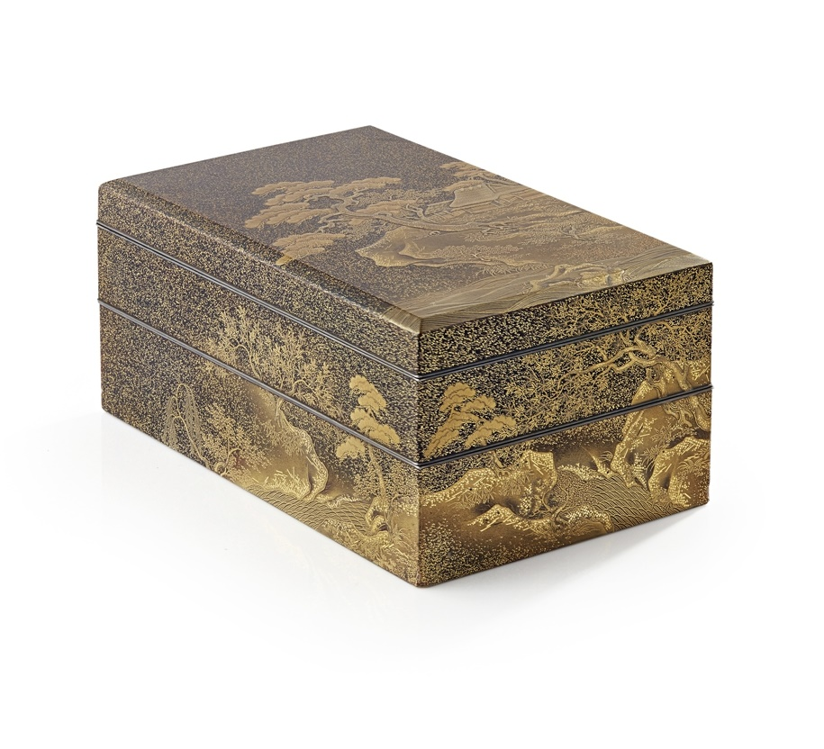 Fine Gold-Lacquer Two-Tier Box and Cover