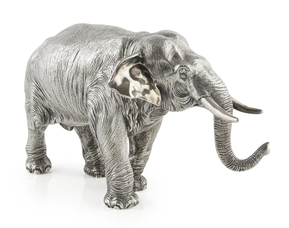 FINE SILVER MODEL OF AN ELEPHANT