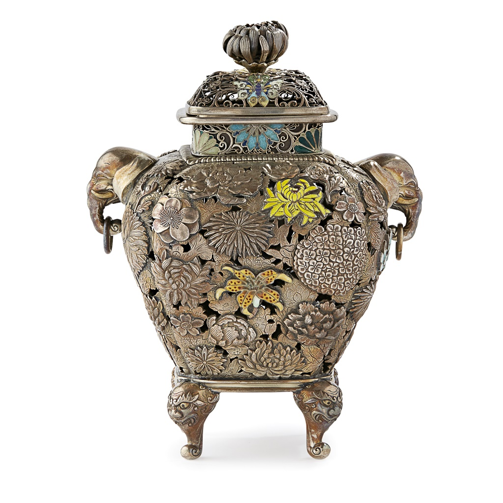 SILVER AND CLOISONNÉ ENAMEL 'MILLEFLEUR' CENSER AND COVER