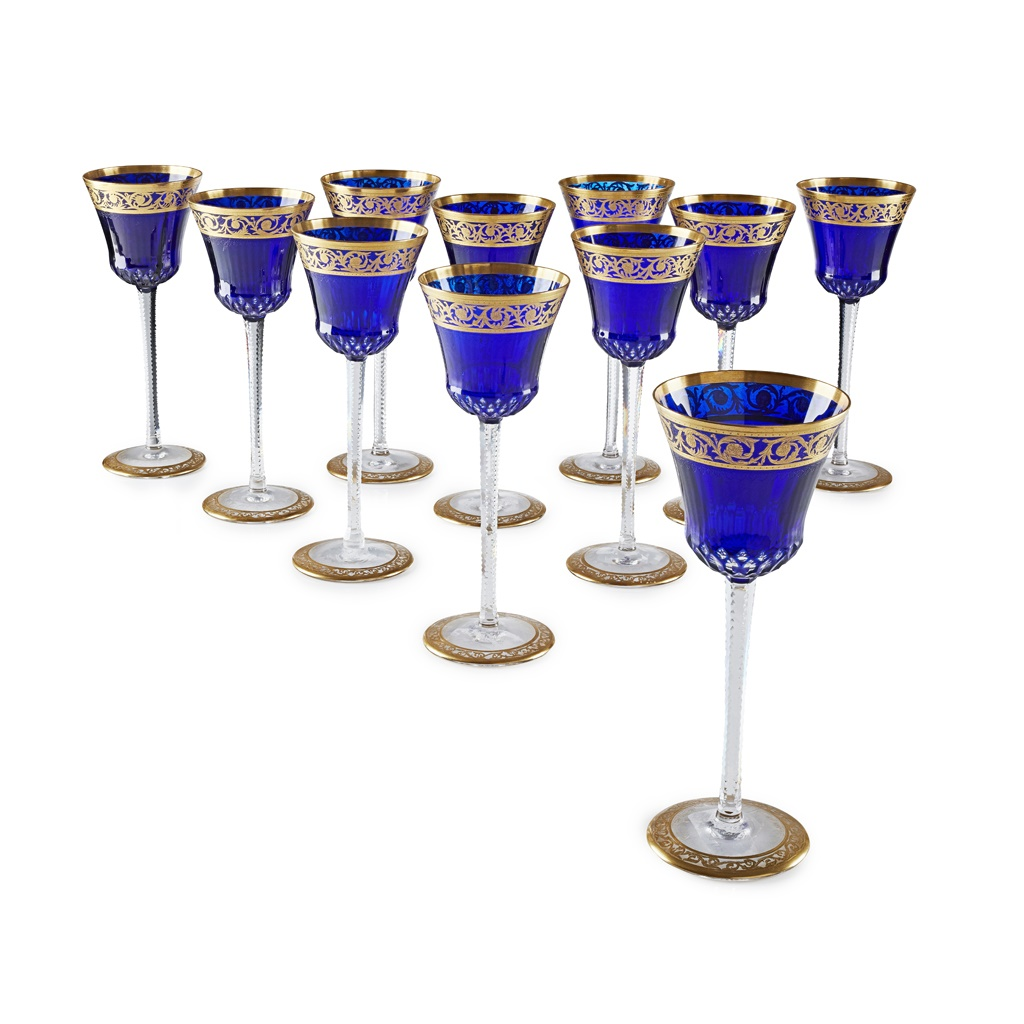 TWELVE ST. LOUIS CRYSTAL WINE GLASSES
