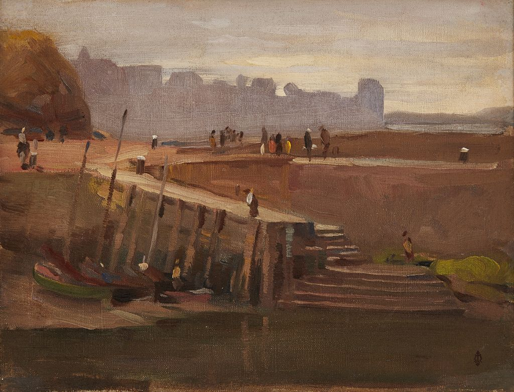 WILLIAM GRANT MURRAY A.R.C.A. (SCOTTISH 1877-1950) THE OLD PIER, ST. ANDREWS