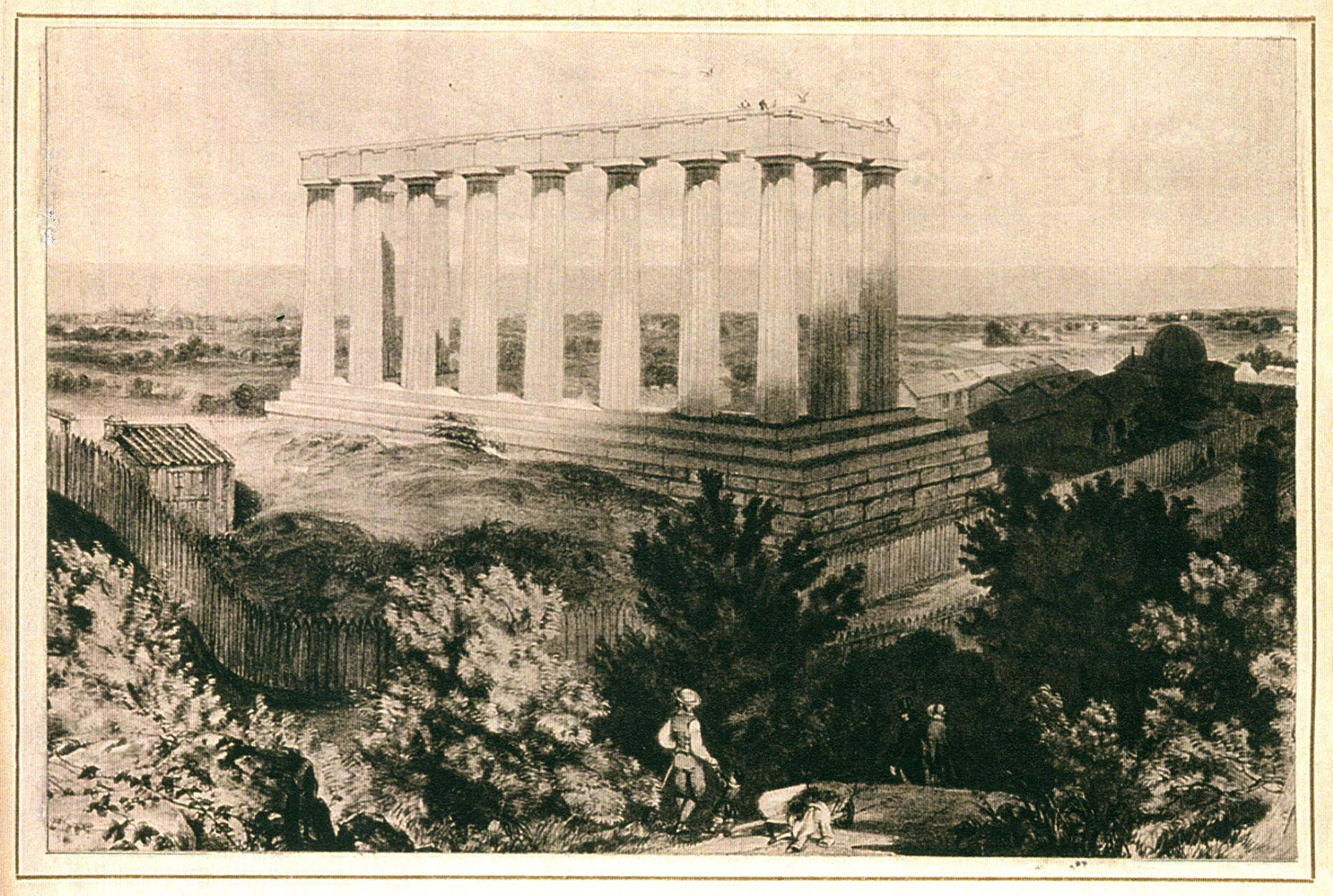Early 19th century sketch of the unfinished monument atop Carlton Hill