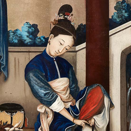 REVERSE-PAINTED GLASS PICTURE OF A GIRL FASTENING HER SHOE QING DYNASTY, 18TH CENTURY