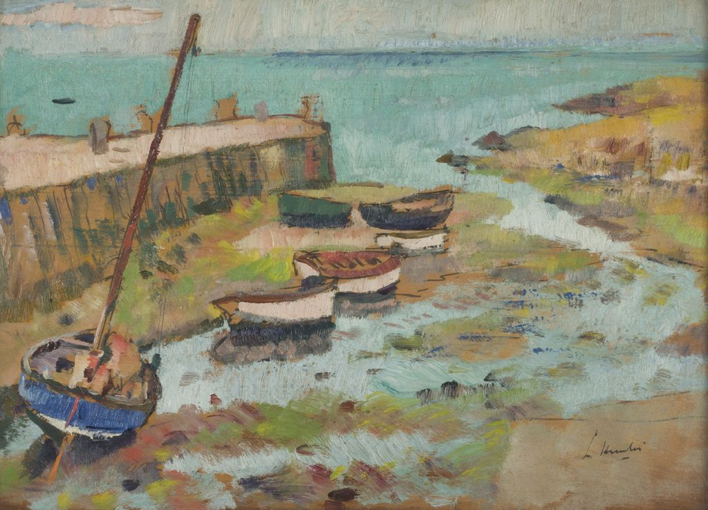 GEORGE LESLIE HUNTER | BOATS IN HARBOUR | Sold for £12,500*