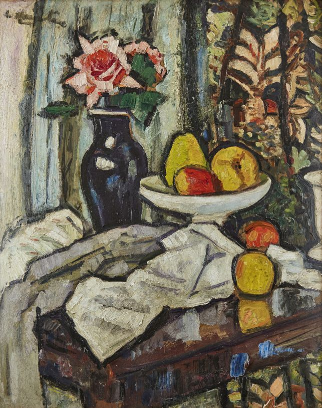 GEORGE LESLIE HUNTER (SCOTTISH 1877-1931) A STILL LIFE OF FRUIT AND FLOWERS WITH PERSIAN CURTAIN