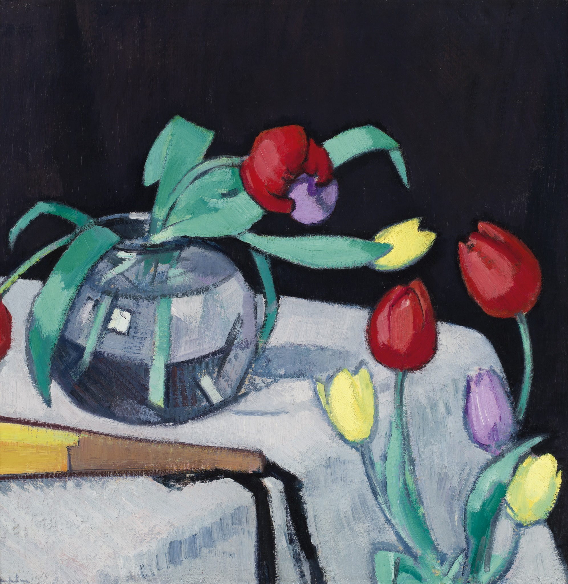 SAMUEL JOHN PEPLOE | STILL LIFE WITH TULIPS ON A BLACK BACKGROUND