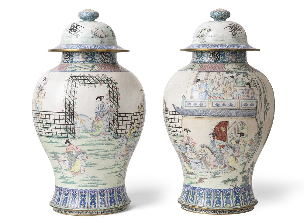 Pair of Large Canton Enamel 'Generals of the Yang Family' Baluster Vases and Covers