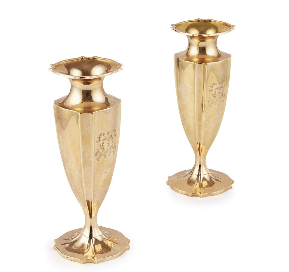 A pair of Edwardian American spill vases