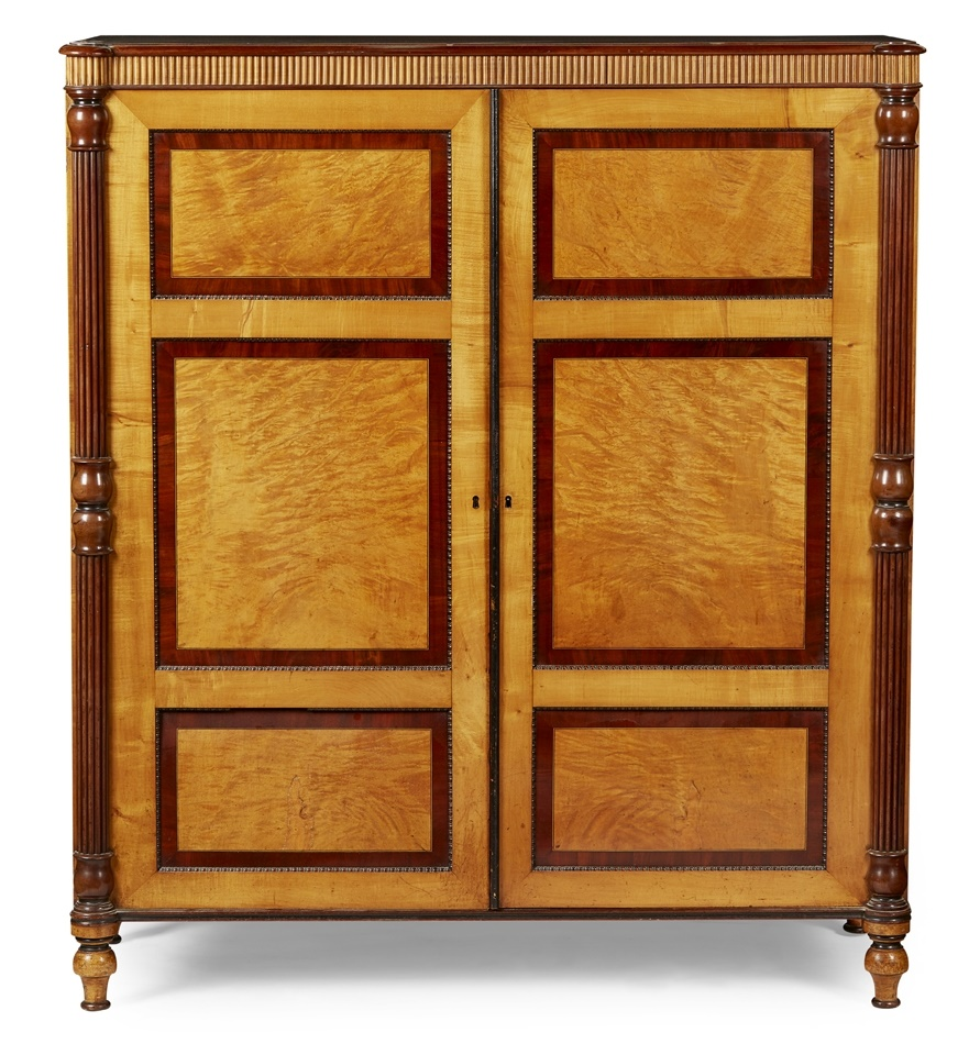 LOT 222 | EARLY VICTORIAN SATIN BIRCH AND MAHOGANY LINEN CUPBOARD, 19TH CENTURY