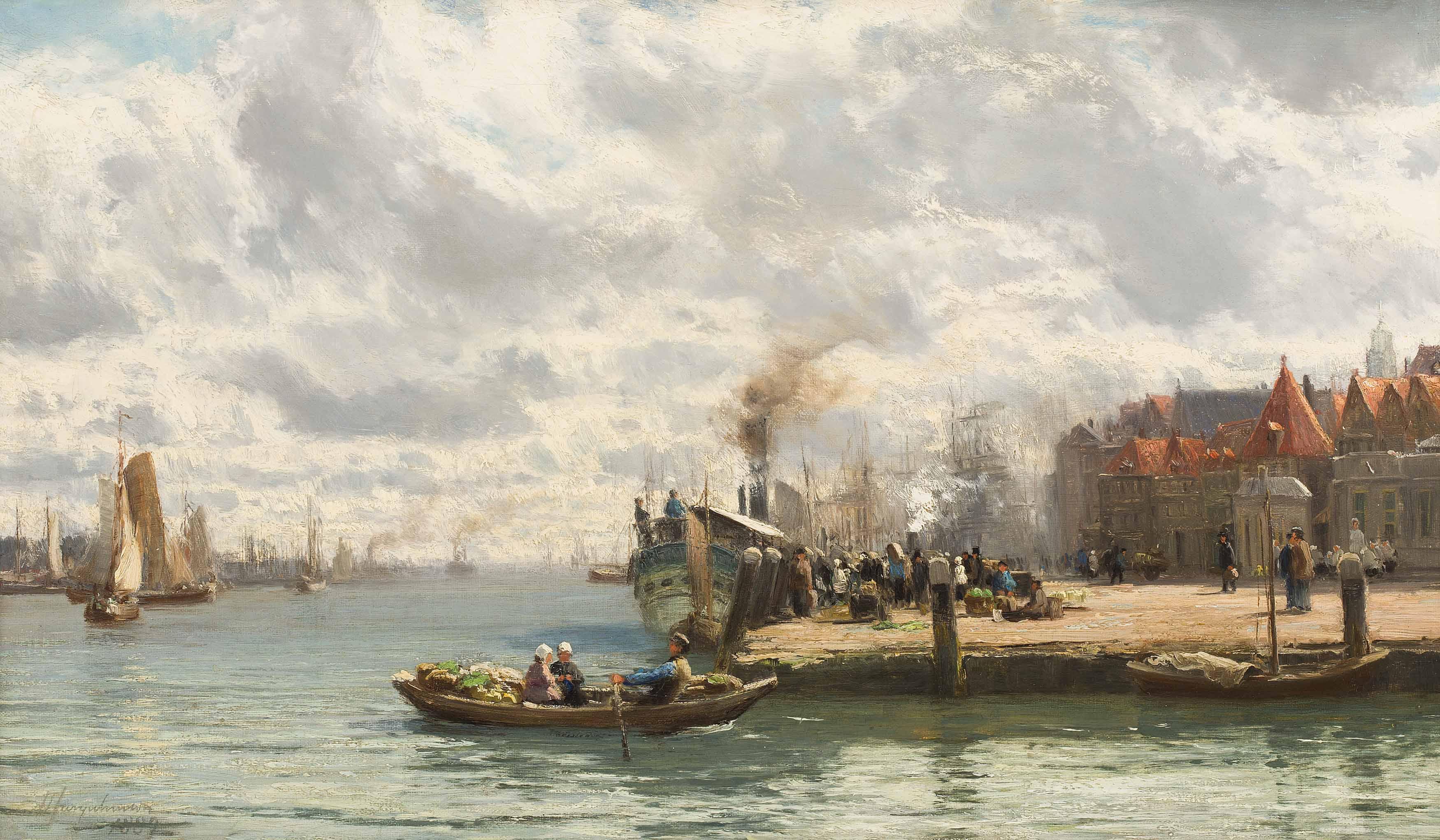 David Farquharson | A Busy Harbour Scene