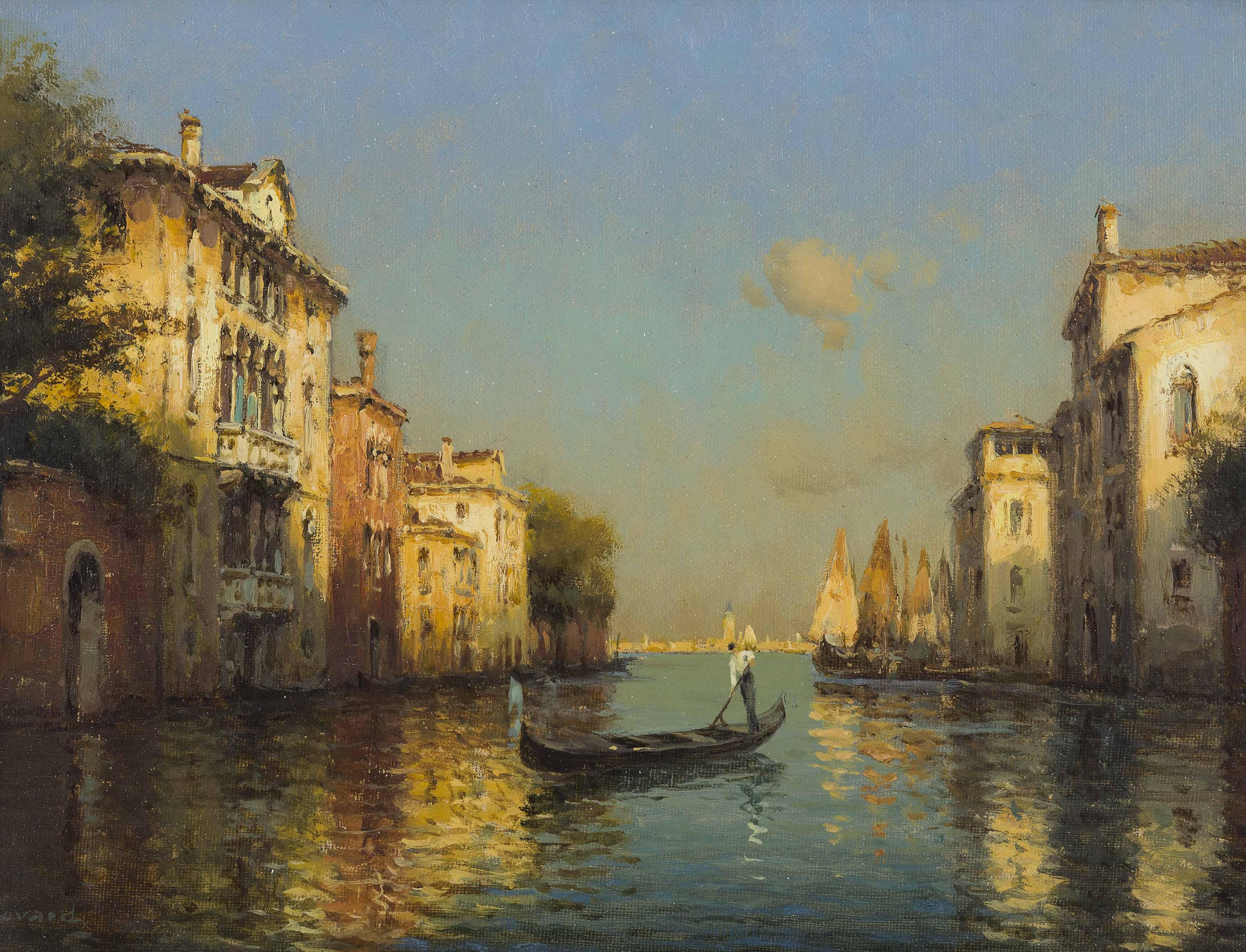Antoine Bouvard | Canal Scene, Venice