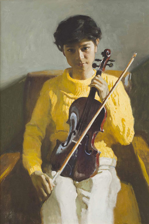 CHEN YANNING (B. 1945) YOUNG GIRL WITH VIOLIN oil on canvas