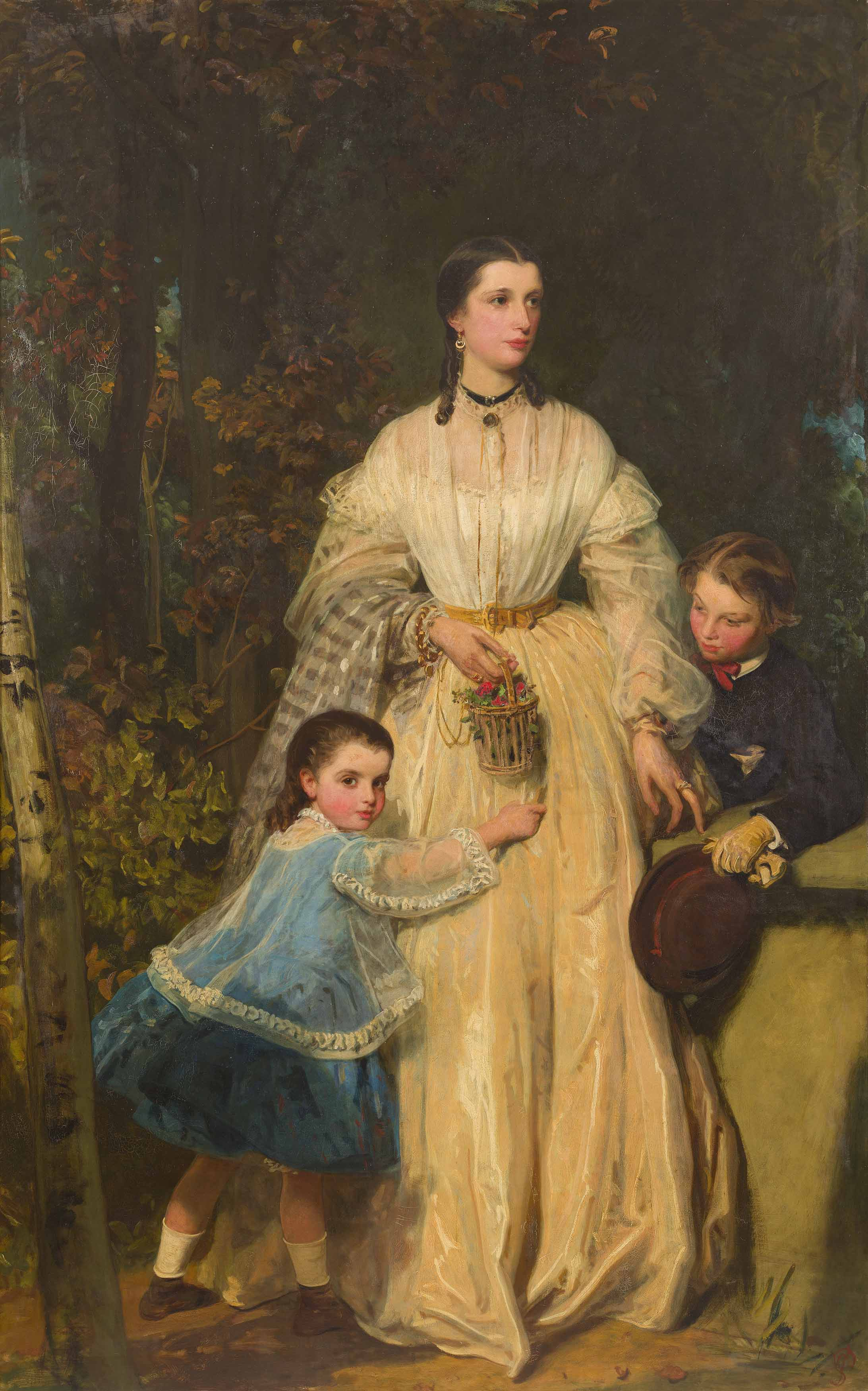 James Sant | Full-length Portrait of Mary Fothergill and her children Richard and Mary