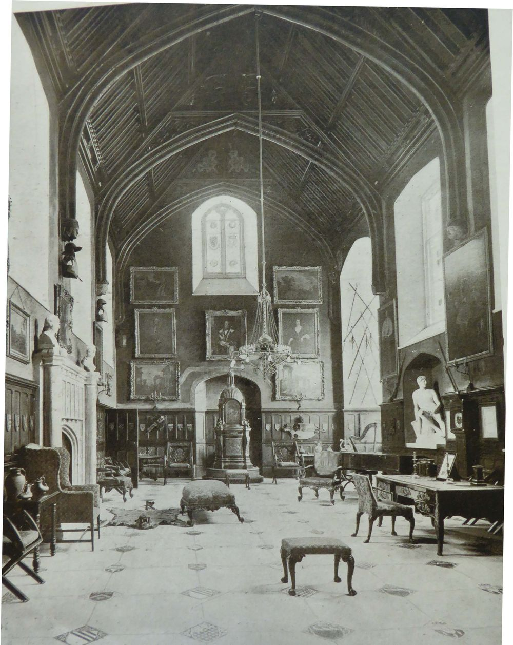 The Great Hall at Horsley Towers, late 19th Century, showing lots 10 and 80 in situ.  Image courtesy of Surrey History Centre.