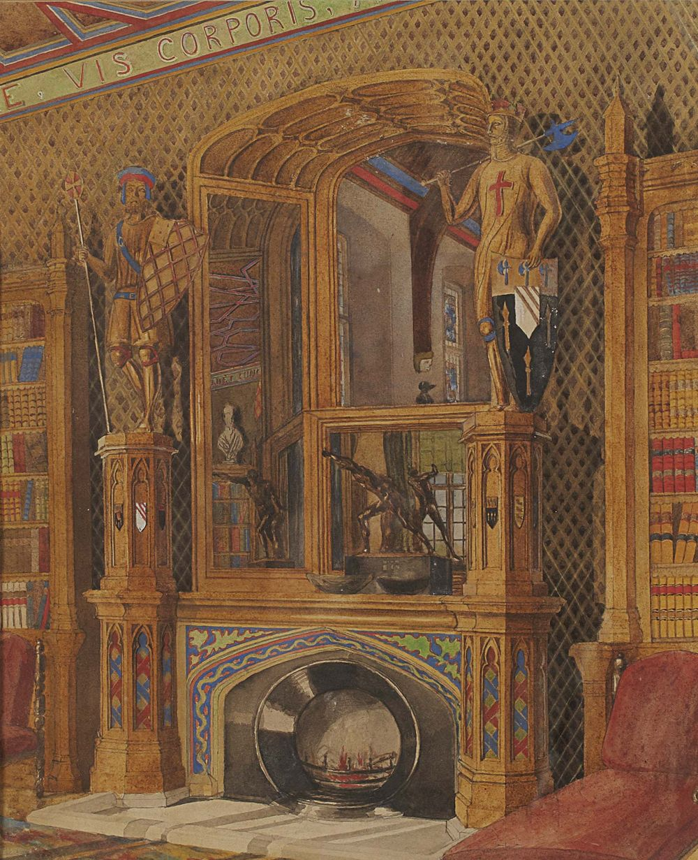 19th century watercolour of a fireplace at Horsley Towers, showing lot 141 in situ