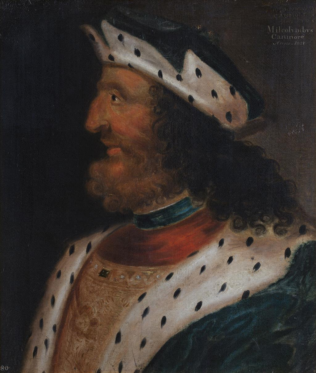 LOT 7   GEORGE JAMESONE (SCOTTISH C.1589-1644)   HEAD AND SHOULDER PORTRAIT OF MALCOLM III OF SCOTLAND  Inscribed twice 'Milcolumbus Canmore Anno 1057,' and numbered no.80' oil on canvas  £20,000-30,000