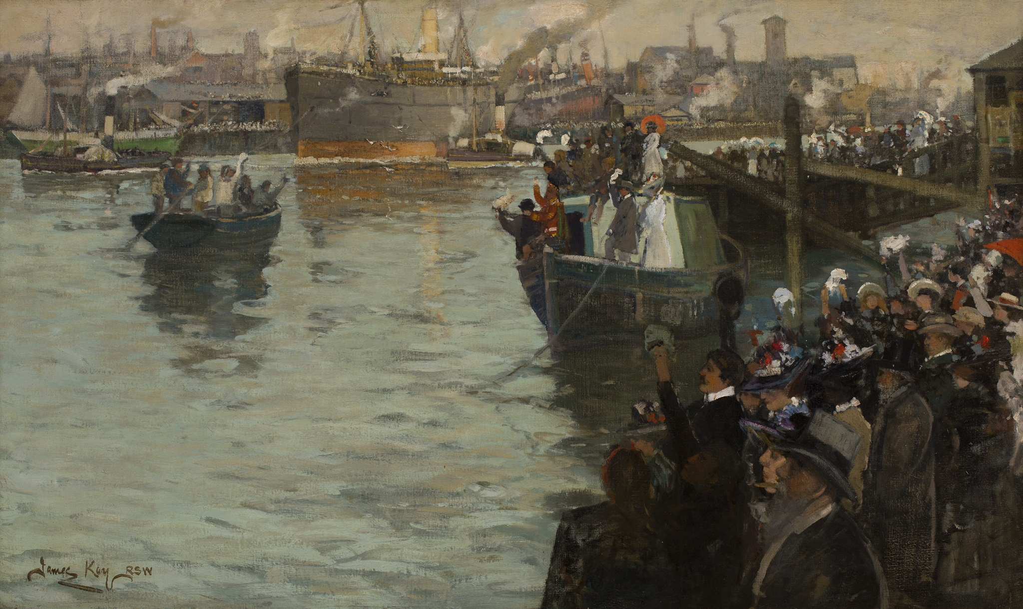 Lot 21   JAMES KAY R.S.A., R.S.W. (SCOTTISH 1858-1942)  DEPARTURE FROM THE CLYDE - BOUND FOR THE FRONT  Sold for £20,000