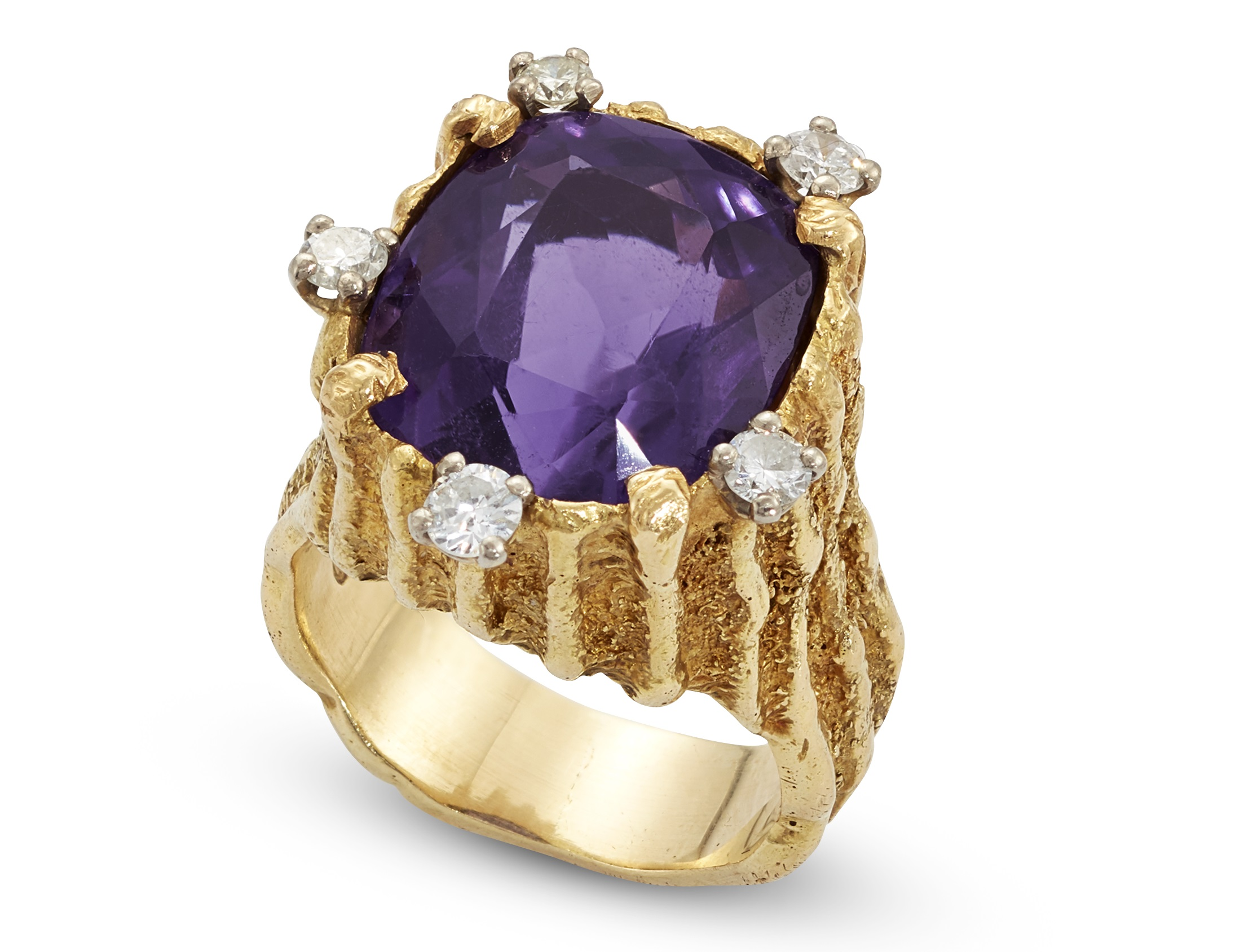 An amethyst and diamond set ring  Alan Gard, London, 1967
