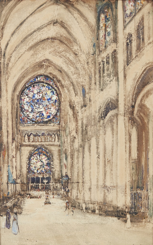 JAMES KAY R.S.A., R.S.W. (SCOTTISH 1858-1942) | CHURCH INTERIOR, ROUEN, FRANCE