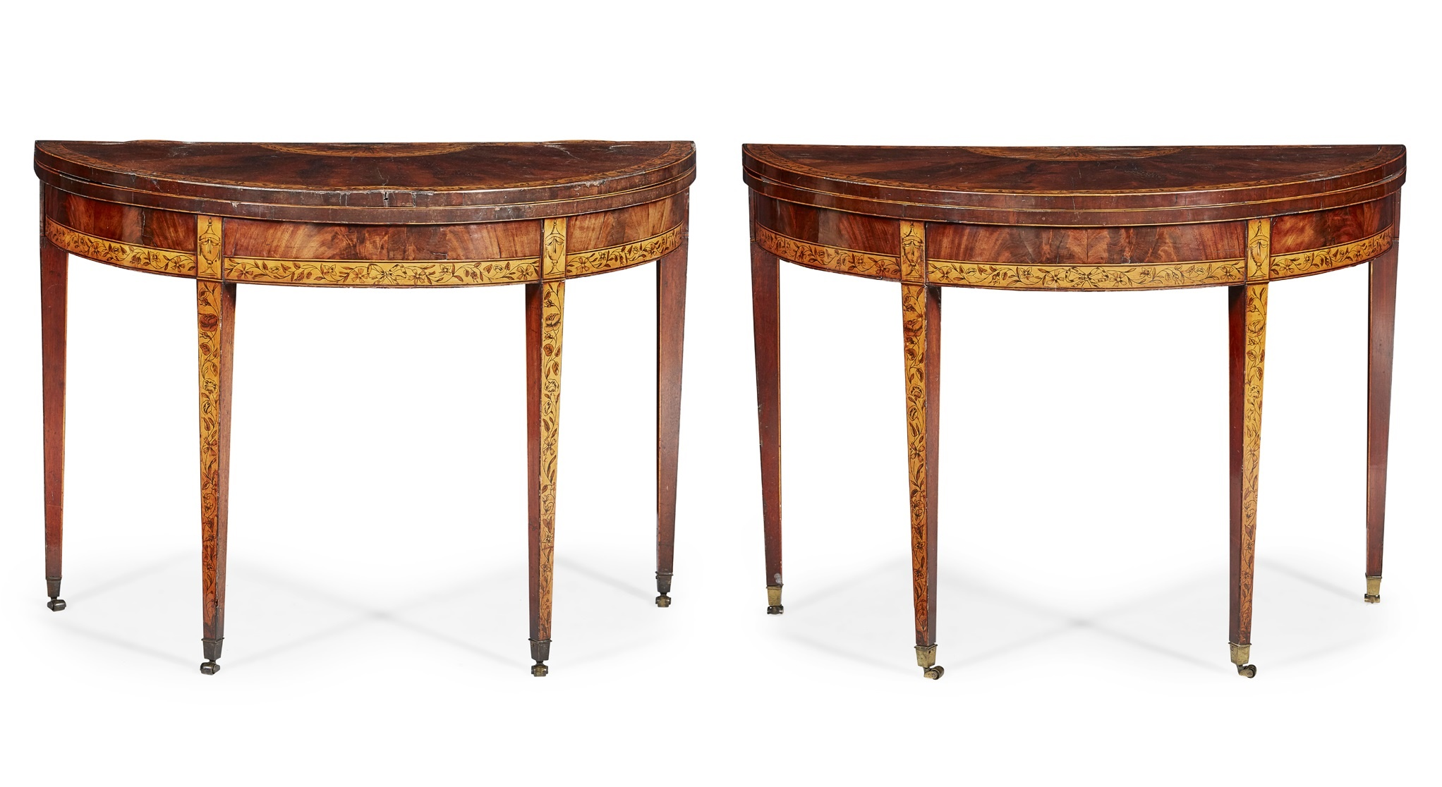 PAIR OF GEORGE III MAHOGANY, SATINWOOD AND PENWORK DEMILUNE GAMES TABLES, POSSIBLY IRISH