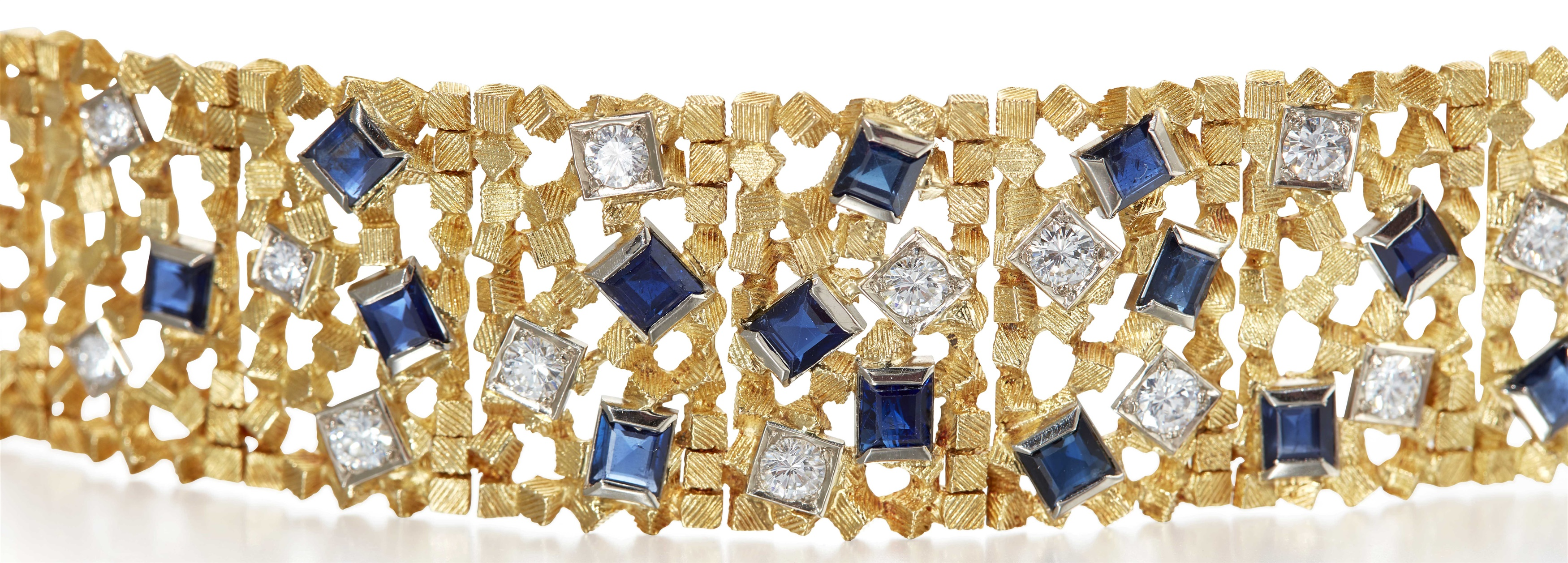 A sapphire and diamond set bracelet  Mark of John Donald, London, 1968