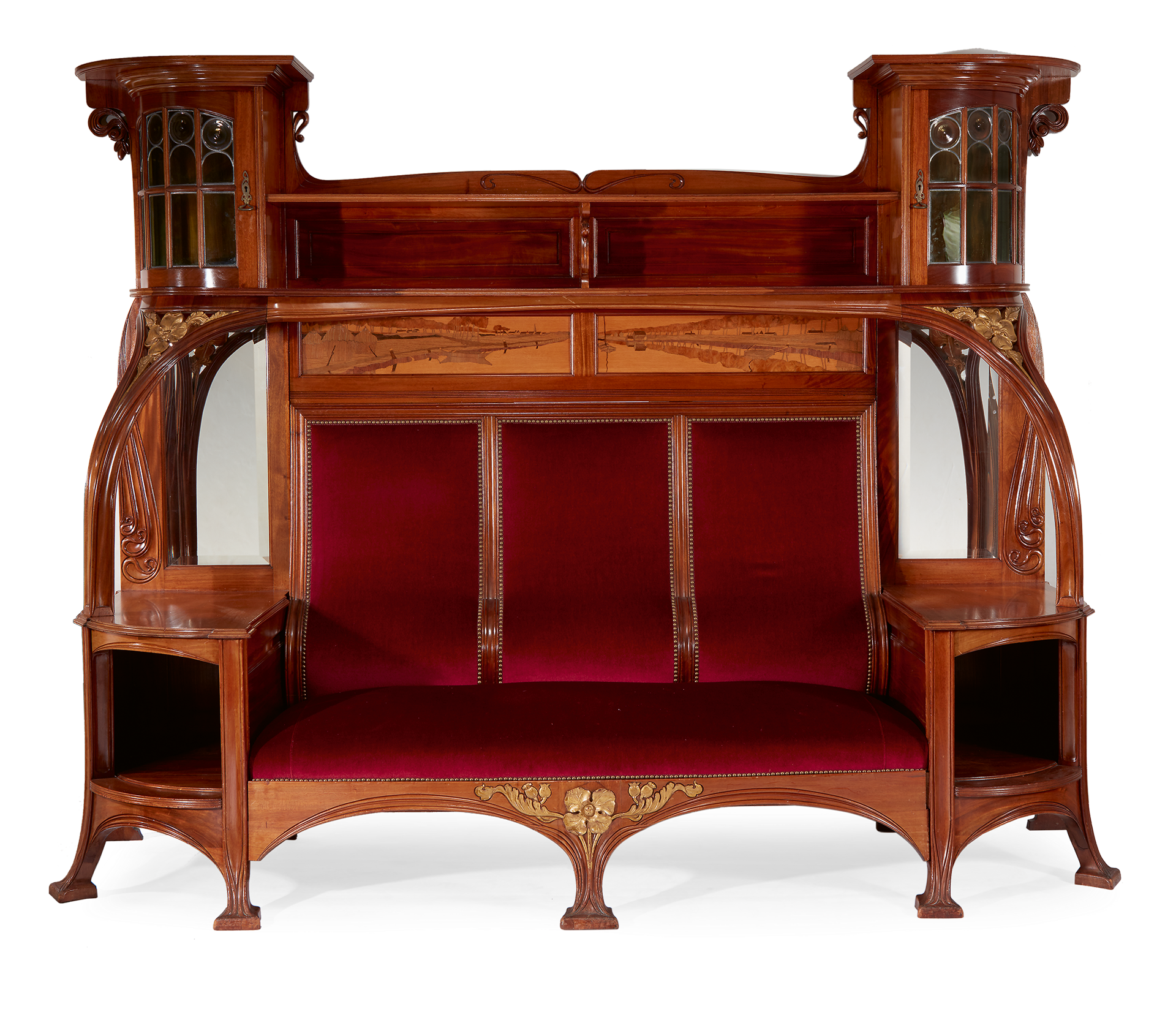 A ttributed to Eugène Vallin, Vitrine Cabinet and Sofa, France, circa 1905