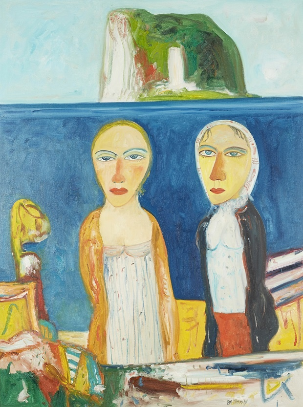JOHN BELLANY C.B.E., R.A., H.R.S.A. (SCOTTISH 1942-2013) FIGURES WITH THE BASS ROCK