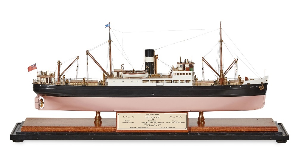 LOT 197 | A MODEL OF A SINGLE SCREW STEAMER | GOTHLAND 1932 | built by A. J. Berry-Robinson for Mr W. Adams, the ship supplied to Builders H. Robb Ltd., Dundee, contained in a brass framed display case with engraved plaque with details, the hull stiffened for use in icy waters | 79cm model length | £1,500 - £2,000 + fees