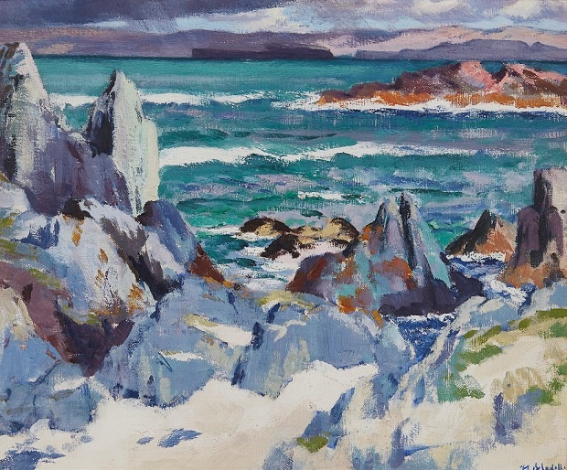 FRANCIS CAMPBELL BOILEAU CADELL R.S.A., R.S.W. (SCOTTISH 1883-1937) | CATHEDRAL ROCK, IONA - THE STORM