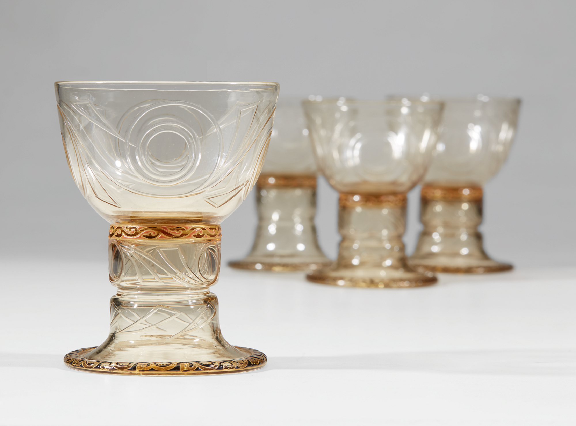 Émile Gallé, A Set of Twelve Drinking Glasses, France, circa 1895