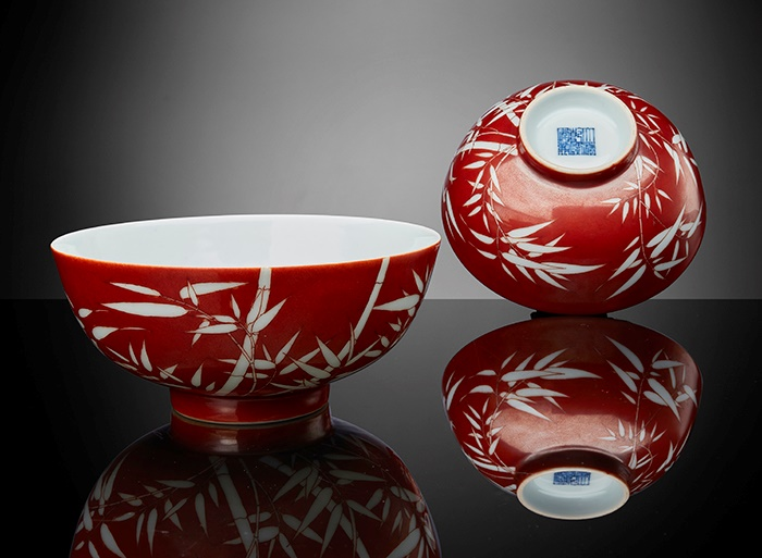 PAIR OF CORAL-GROUND RESERVE-DECORATED 'BAMBOO' BOWLS QIANLONG MARK AND PERIOD