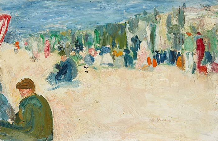 GEORGE LESLIE HUNTER (SCOTTISH 1877-1931) ON THE BEACH