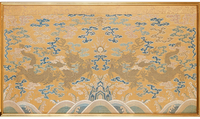 RARE IMPERIAL YELLOW-GROUND SILK BROCADE 'DRAGON' PANEL QING DYNASTY, QIANLONG PERIOD 清乾隆 御製明黃地織金錦雙龍趕珠紋掛屏