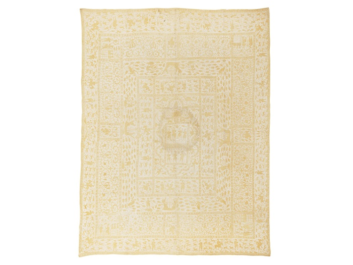 LOT 614 | INDO-PORTUGUESE EMBROIDERED COVERLET (COLCHA)