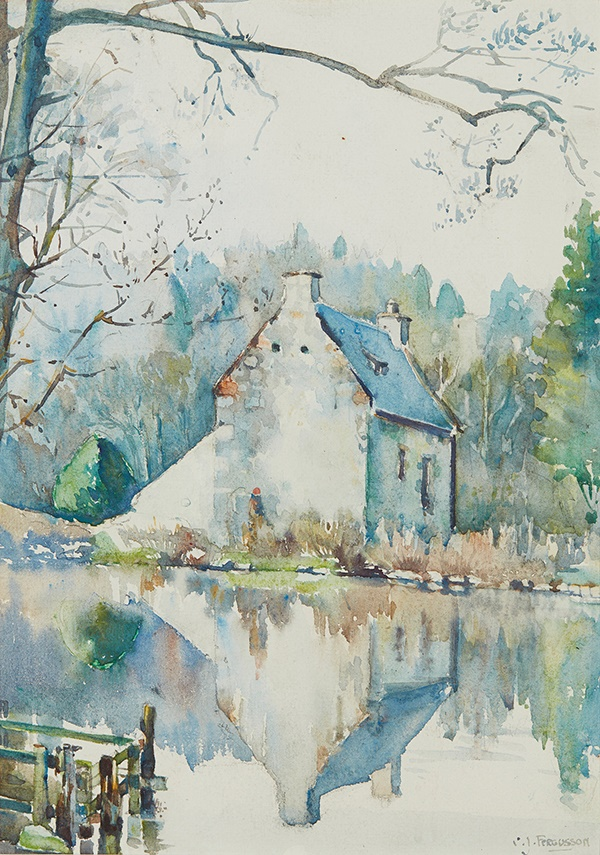 LOT 62 | § CHRISTIAN JANE FERGUSSON (SCOTTISH 1876-1957) | HOUSE OF THE ABBOT, NEW ABBEY Signed, watercolour | 31cm x 23cm (12in x 9in) | £600 - £800 + fees