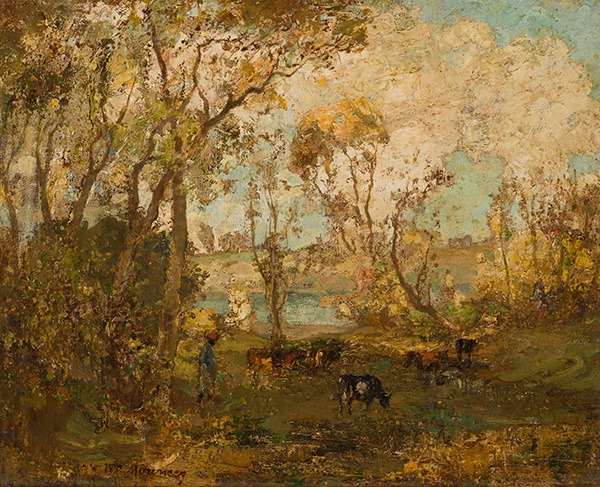 WILLIAM MOUNCEY (SCOTTISH 1852-1901) CATTLE GRAZING IN A WOODED LANDSCAPE