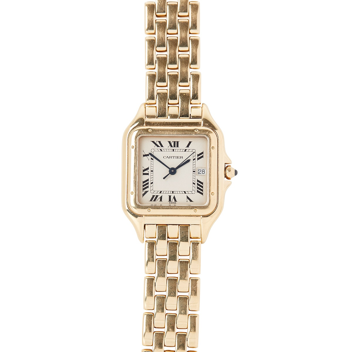 A MID SIZE 18CT GOLD WRISTWATCH, CARTIER Panthère model, square buff dial, Roman numerals in black, date aperture at 3, inner seconds track in black, blued steel sword hands, centre seconds hand in black, screw motif bezel, sapphire set crown, with Cartier Quartz 18K SWISS MADE 887968 003461 to the case back, Cartier integrated polished gold brick link bracelet strap, Cartier signed concealed clasp, no box or papers, with travel/service pouch | Case width: 29mm including crown guards | £3,000 - £5,000 + fees