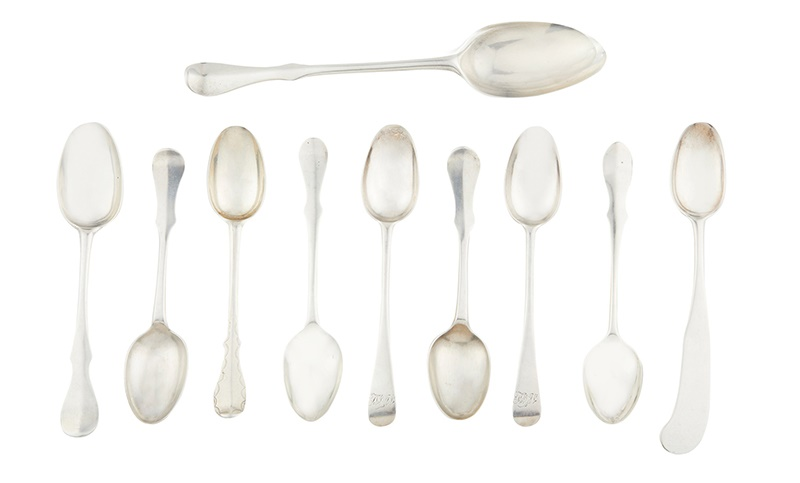 Lot 529 | A small collection of Scots Fiddle pattern teaspoons maker's marks only, to include example by william Davie, A Aitchison, T&G, William Marshall etc, together with an unmarked Scots Fiddle dessert spoon Combined weight: 3.7oz | £150 - £180 + fees