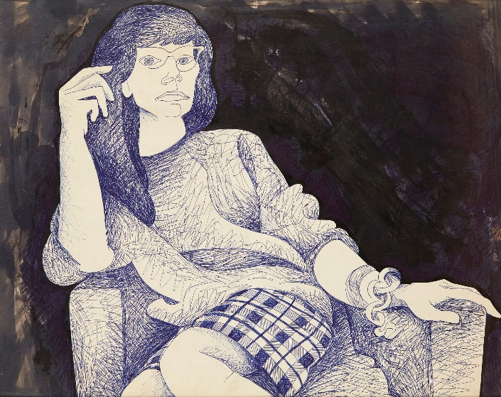 ALASDAIR GRAY (SCOTTISH 1934-2019) PORTRAIT OF KATEY