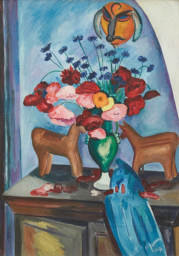 EDWARD WOLFE R.A. (SOUTH AFRICAN/BRITISH 1897-1982) FLOWER PIECE WITH DANCE MASK AND HORSE FIGURINE, 1930