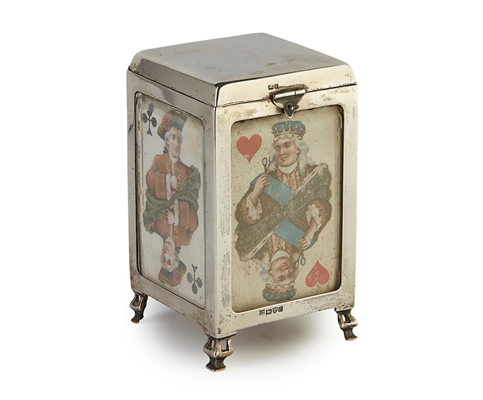 EDWARDIAN SILVER PLAYING CARD BOX