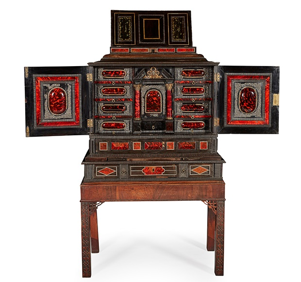 FLEMISH RED TORTOISESHELL, EBONY, IVORY INLAID AND SILVERED AND GILT METAL MOUNTED CABINET AND ASSOCIATED STAND