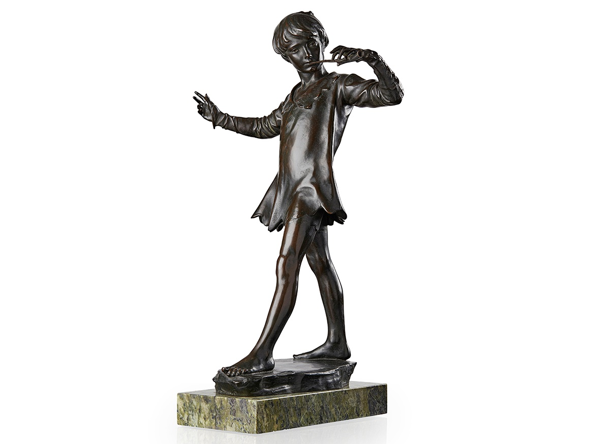 Sir George James Frampton (1860-1928) patinated bronze, 'Peter Pan', signed and dated 1911 - £35,000